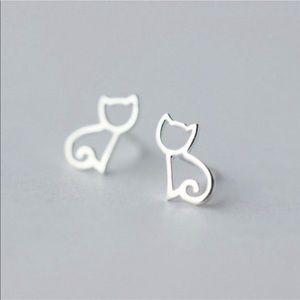925 STERLING SILVER Cat Earrings